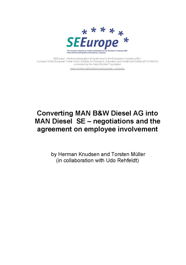 Converting Man Bw Diesel Ag Into Man Diesel Se Negotiations And